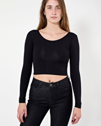 Long sleeve cotton Spandex jersey crop top