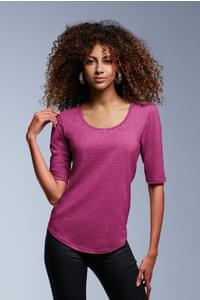 Anvil women's tri-blend deep scoop ? sleeve tee