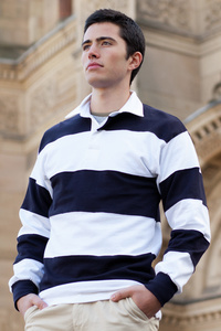 SEWN STRIPE LONG SLEEVE RUGBY SHIRT