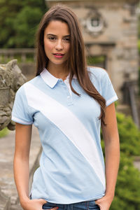 LADIES DIAGONAL STRIPE POLO