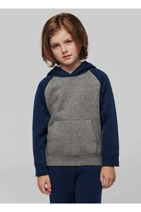 Sweat-shirt capuche bicolore enfant